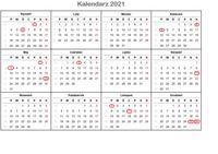 Kalendarz świąt 2021