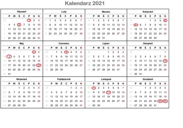 Dni wolne od pracy i kalendarz świąt 2021