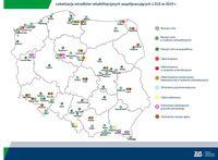 Lokalizacja ośrodków rehabilitacyjnych współpracujących z ZUS w 2019 r.