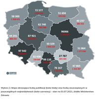 Mapa obrazująca liczbę publikacji (kolor biały) oraz liczbę zaszczepionych w poszczególnych wojewódz