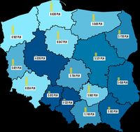 Średnia wartość rezerwacji w regionach