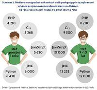 Schemat 1. Mediany wynagrodzeń osób posługujących się językami programowania/staż pracy