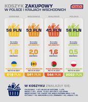 Koszyk zakupowy w Polsce i krajach wschodnich
